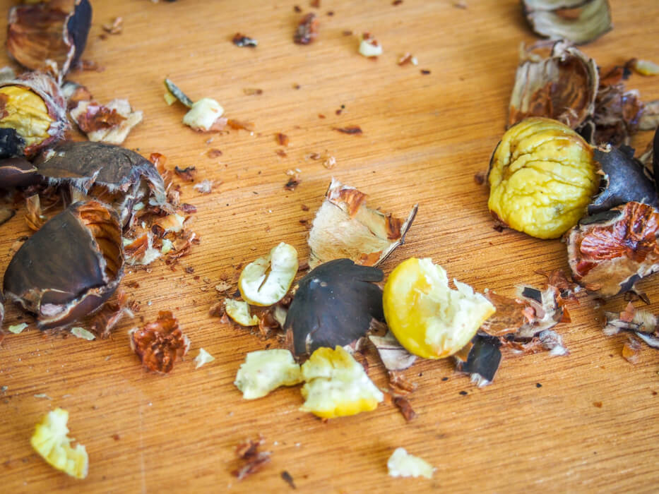process of removing shell from chestnuts
