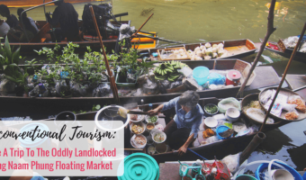 A visit to the oddly landlocked Bang Naam Phung Floating Market outside Bangkok, Thailand is not the picturesque experience but it is unconventional.
