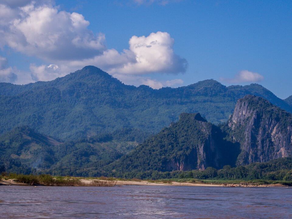 blue green laos hills river