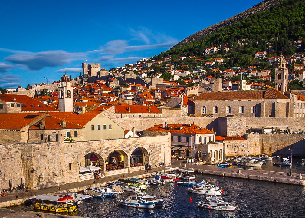 harbour walls old town tiled roofs dubrovnik croatia